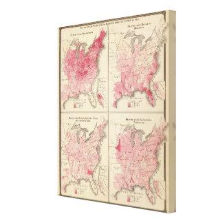 Mapas de la vitalidad de Estados Unidos Impresión En Lienzo