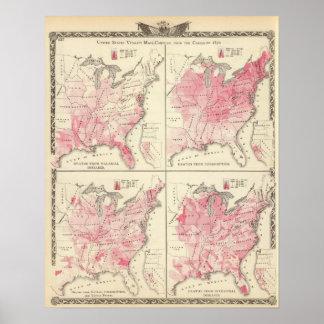 Mapas de la vitalidad de Estados Unidos Póster