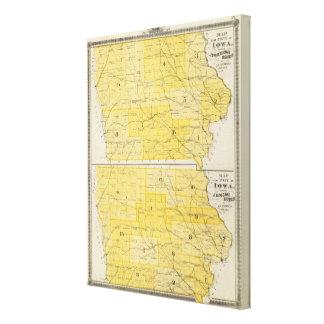 Mapas del estado de Iowa Impresión En Lienzo