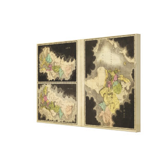 mapas grabados del mundo impresión en lienzo