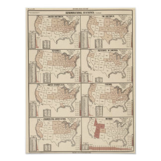 mapas litografiados de estadísticas confesionales póster