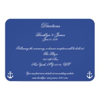 Mapas náuticos azules y direcciones del boda invitación 8,9 x 12,7 cm