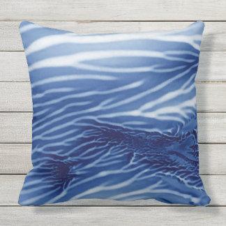 Mar azul abstracto Monoprint Cojín De Exterior