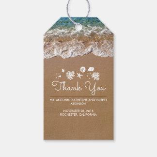 Mar azul y arena del boda de playa tropicales etiquetas para regalos