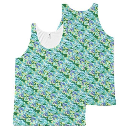 Mar de la aguamarina del agua del océano del verde camiseta de tirantes con estampado integral