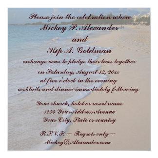 Mar de la turquesa y playa de Sandy tropicales Invitación 13,3 Cm X 13,3cm