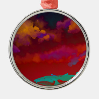 Mar del colorete adorno navideño redondo de metal
