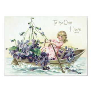 Mar del velero de las violetas del chica invitación 12,7 x 17,8 cm