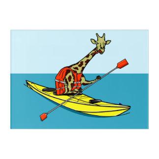 Mar divertido de la jirafa kayaking impresión acrílica