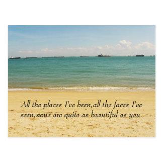 mar, todos los lugares he sido, todas las caras postal