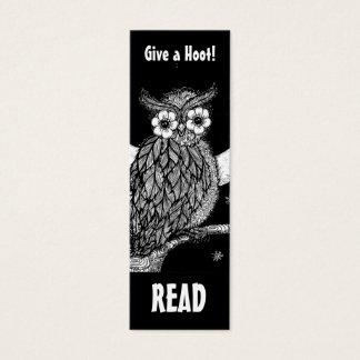 Marca de libro de medianoche del búho tarjeta de visita mini
