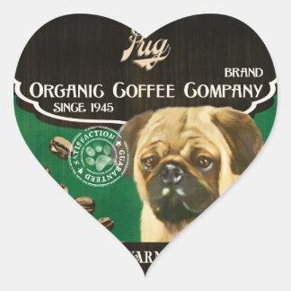 Marca del barro amasado - Organic Coffee Company Calcomanía Corazón