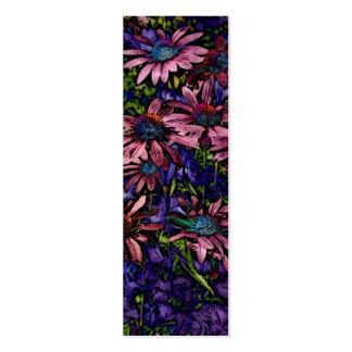 Marcador de libro azul y púrpura de Coneflower Tarjetas De Visita Mini