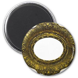 Marco antiguo del oro imán redondo 5 cm