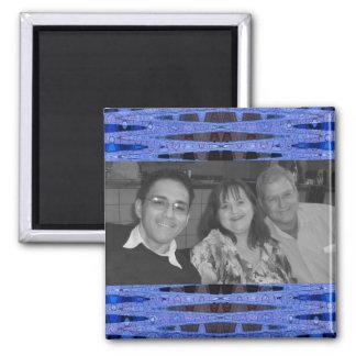marco azul de la foto imán cuadrado