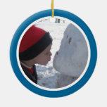 Marco azul y blanco de la foto - bilateral ornamente de reyes