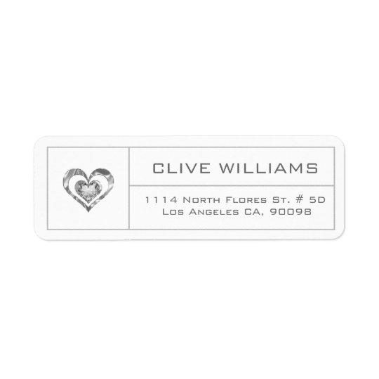 Marco blanco de la plata del ejemplo del corazón etiquetas de remite