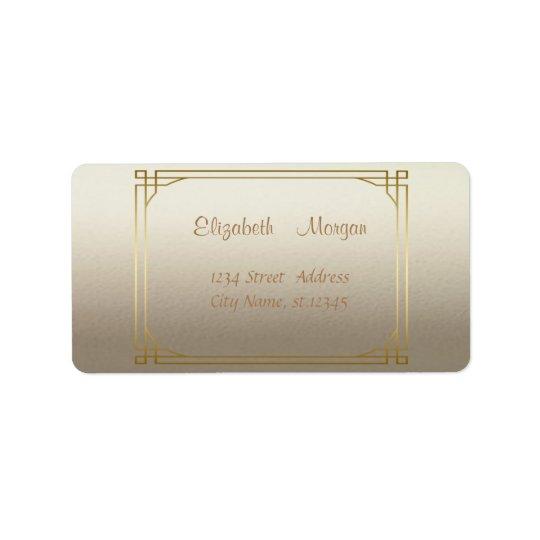 Marco brillante, falso elegante elegante del oro etiqueta de dirección