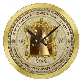 Marco clásico de la foto del aniversario de boda reloj redondo grande