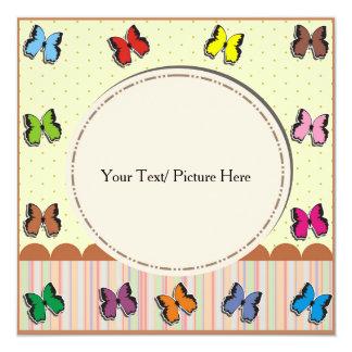 Marco con la mariposa a todo color invitación 13,3 cm x 13,3cm