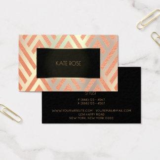 Marco coralino del oro del melocotón metálico tarjeta de negocios