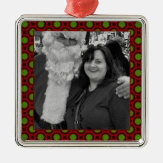 Marco cuadrado de la foto de los lunares del día adorno navideño cuadrado de metal