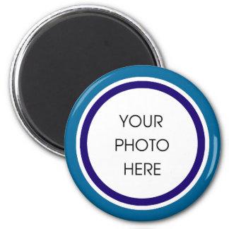 Marco de la foto del azul y de la marina de guerra imán redondo 5 cm