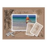 Marco de la foto del moreno del collage del mapa d tarjeta postal