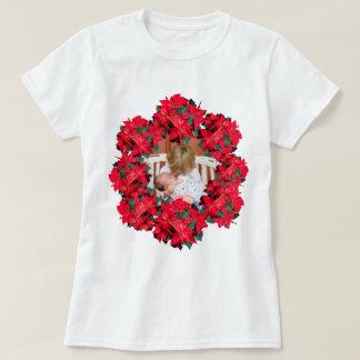 Marco de la foto del Poinsettia del navidad Camiseta