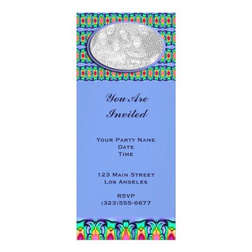 marco de las cintas azules invitaciones personalizada