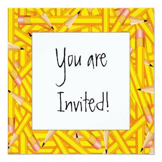 Marco de los lápices invitación 13,3 cm x 13,3cm
