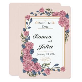 Marco de los rosas que casan reserva la tarjeta de invitación 12,7 x 17,8 cm
