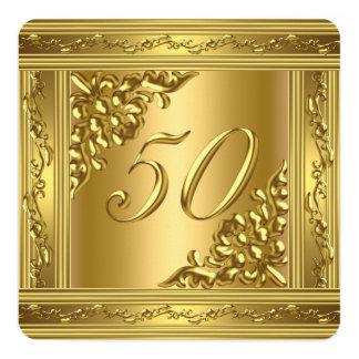 Marco de oro 50 del 50.o de cumpleaños oro invitación 13,3 cm x 13,3cm