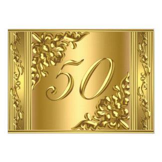 Marco de oro 50 del 50.o de cumpleaños oro invitación 12,7 x 17,8 cm