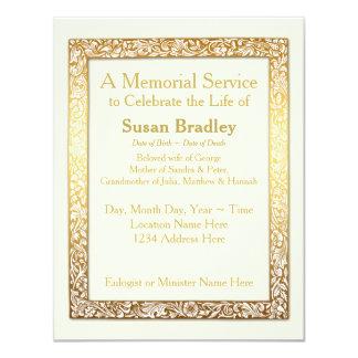 Marco de oro del vintage - ceremonia conmemorativa invitación 10,8 x 13,9 cm