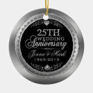 Marco de plata y 25to aniversario de boda de los