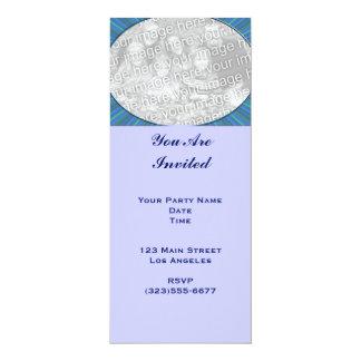 marco del azul de la raya invitación 10,1 x 23,5 cm