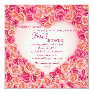 Marco del corazón de la invitación de los rosas invitación 13,3 cm x 13,3cm