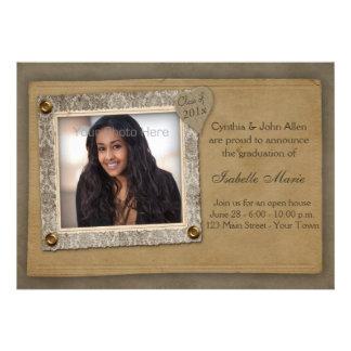 Marco del damasco, tarjeta de la foto de la gradua invitacion personalizada