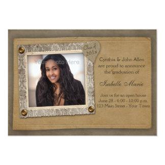 Marco del damasco, tarjeta de la foto de la invitación 12,7 x 17,8 cm
