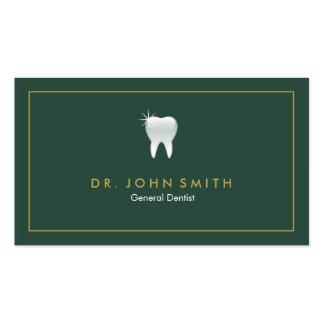 Marco dental de la cita del diente brillante verde tarjetas de visita
