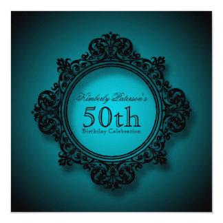 Marco en azul - 50.a celebración del vintage del invitación 13,3 cm x 13,3cm