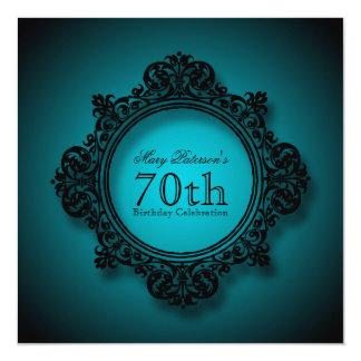 Marco en azul - 70.a celebración del vintage del invitación 13,3 cm x 13,3cm
