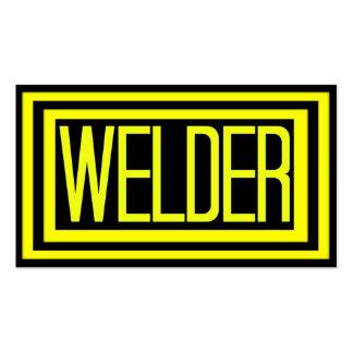 Marco enmarañado negro y amarillo del soldador plantilla de tarjeta de negocio
