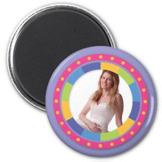 ¡Marco enrrollado del círculo - disco! en lila Imán Redondo 5 Cm
