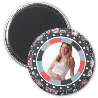 Marco enrrollado del círculo - gris y rojo en mode imán redondo 5 cm