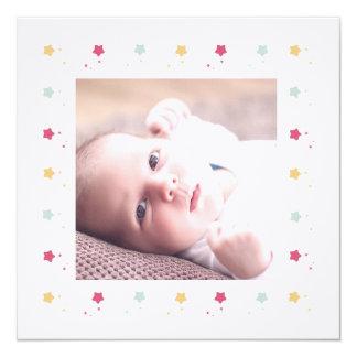 Marco estrellado | Participación de nacimiento Invitación 13,3 Cm X 13,3cm