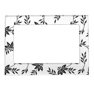 Marco floral blanco y negro del imán marcos magneticos de fotos