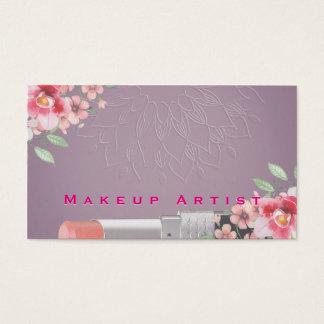 Marco floral del salón de belleza del lápiz labial tarjeta de negocios