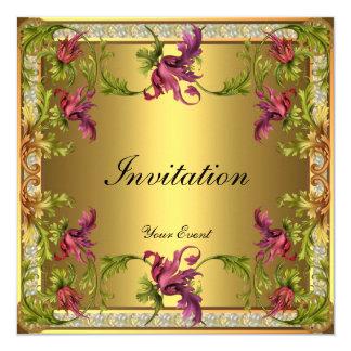 Marco floral del Victorian del oro del vintage Invitación 13,3 Cm X 13,3cm